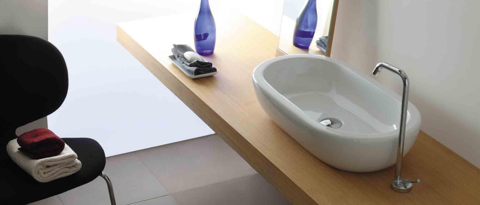italiaans design. waskom opbouw el serie galassia - luca sanitair, Badkamer