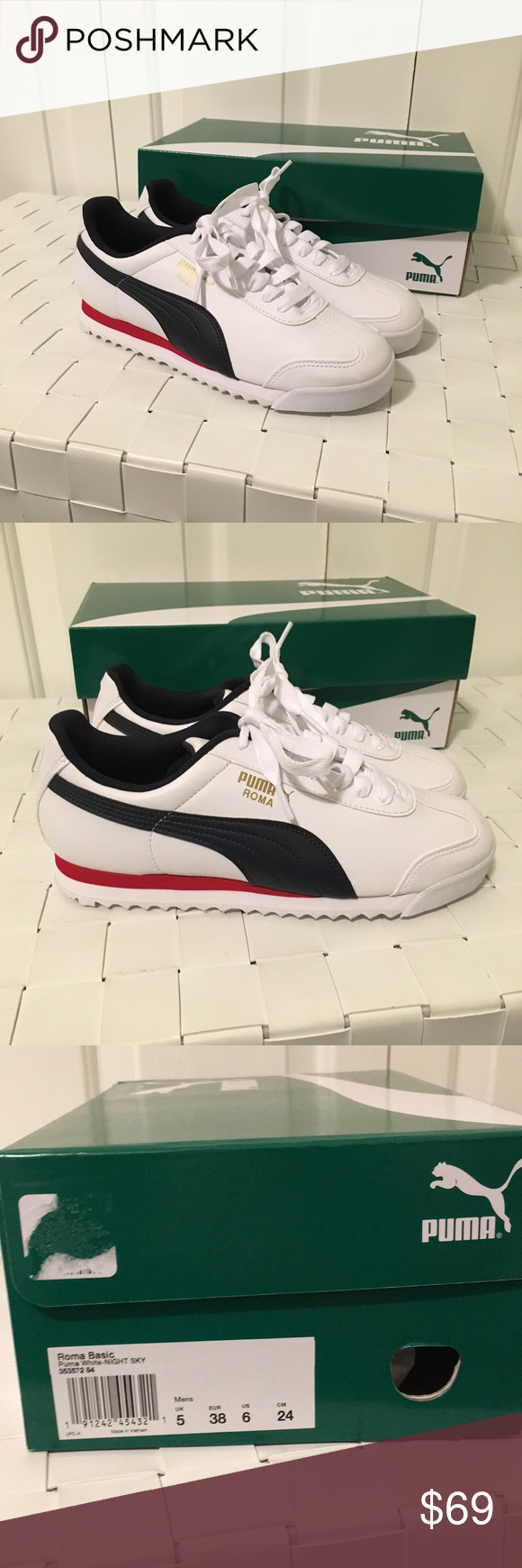 c19449239db NEW puma Roma basic sneakers Brand new in box Size 7.5 in women s size 6 in  men s Navy red and white color Beautiful sneakers Never worn before Puma  Shoes ...