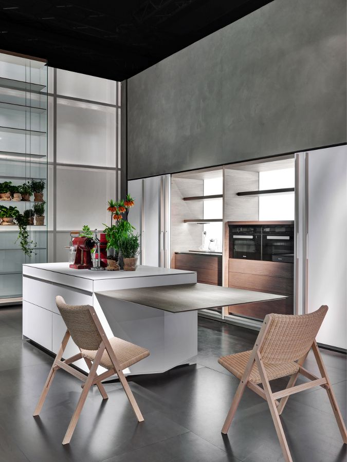 Hpl kitchen with integrated handles vela by dada for Molteni and dada