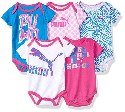 3f405822db1c5 PUMA Baby Girls' 5 Pack Ss Bodysuits, Pink Glo, 0-3 Months | Fashion ...