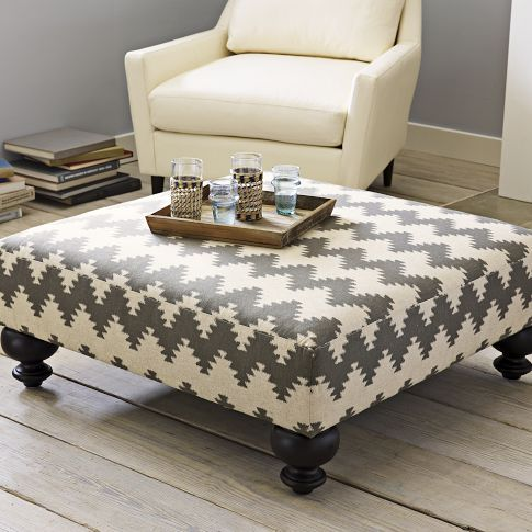 Easy to make ottoman with plywood, double layer of foam, wood legs from Home Depot and your favorite fabric! @Dany Pardey