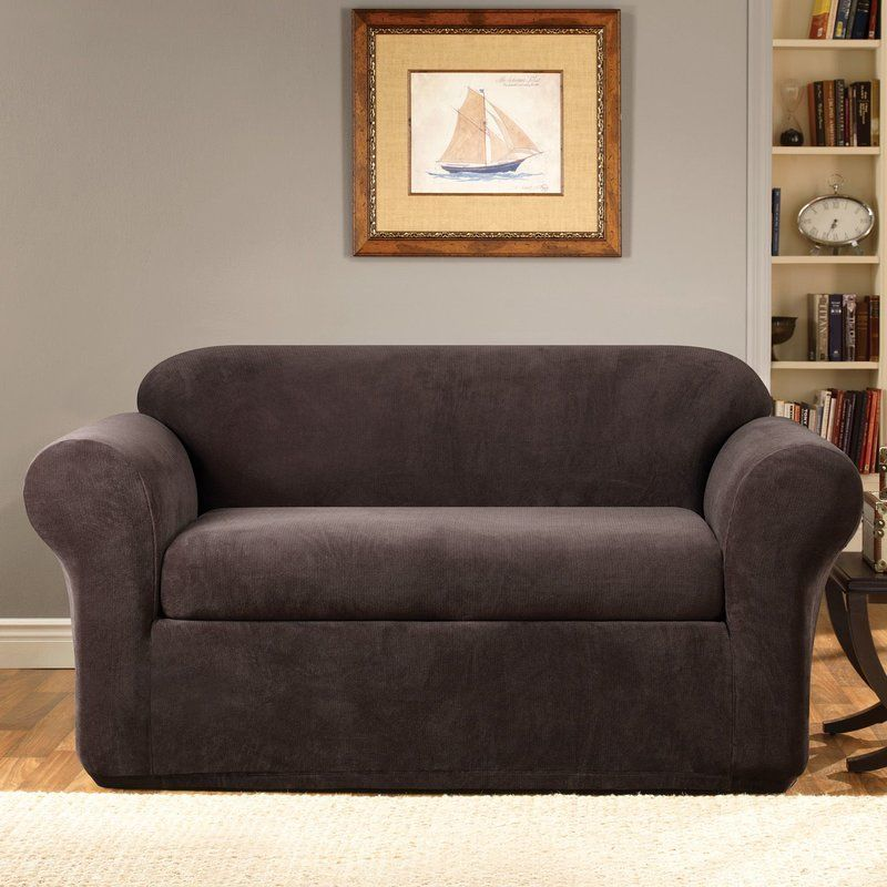 Sure Fit Stretch Metro Box Cushion Loveseat Slipcover Reviews Wayfair Slipcovers Loveseat Slipcovers Cushions On Sofa