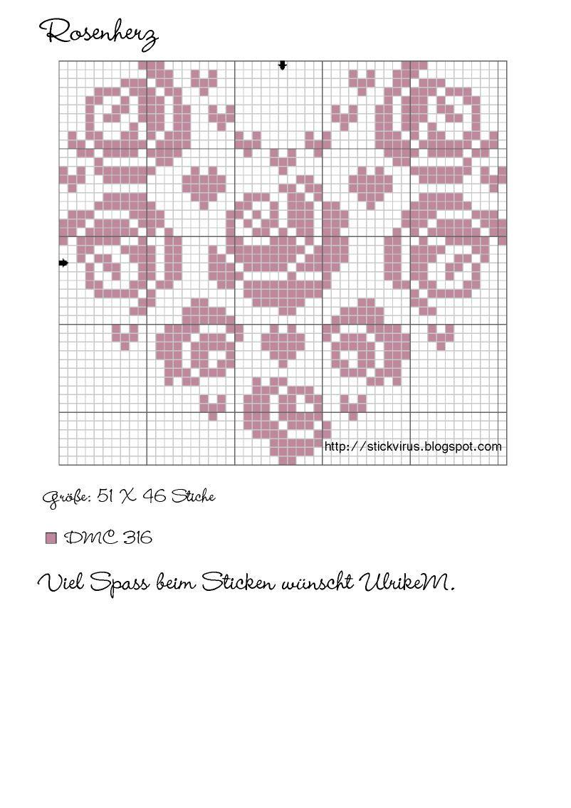 Ulrike M.: Ein Rosenherz - Freebie   Stitching   Pinterest ...
