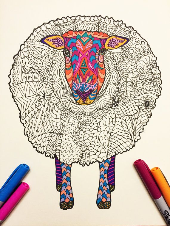 Sheep PDF Zentangle Coloring Page By DJPenscript On Etsy