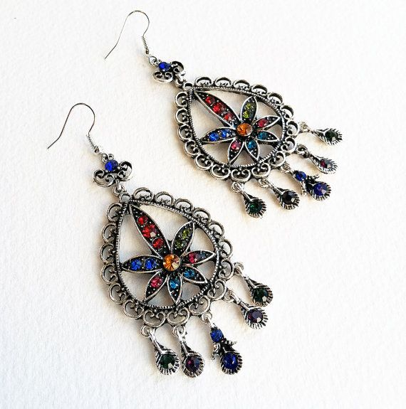 Marijuana Rhinestone Chandelier earring rainbow multi color, cannabis jewelry, marijuana jewelry, accessories, jewelry
