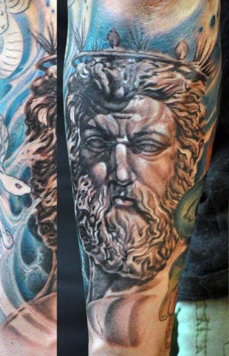 30 Poseidon Tattoo Designs For Men - Greek God Of The Sea ...
