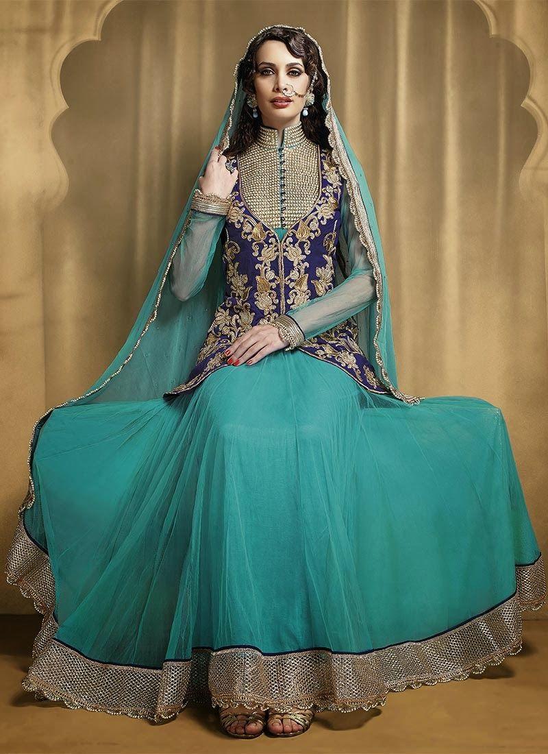 Stylish white dress wedding umbrella frocks churidar designs - Latest Stylish And Fancy Indian Umbrella Frock Designs 2014 2015 Stylesgap Com