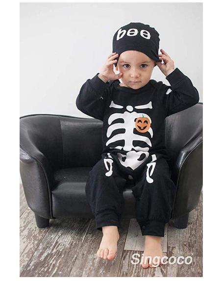Baby Boys Girls Skull Skeleton Halloween Costume Hoodie