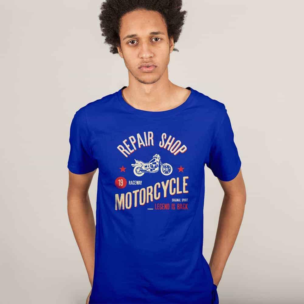 Download Motorcycle Repair Shop Violet Printed Tshirt Shirt Mockup Tshirt Print Printed Shirts