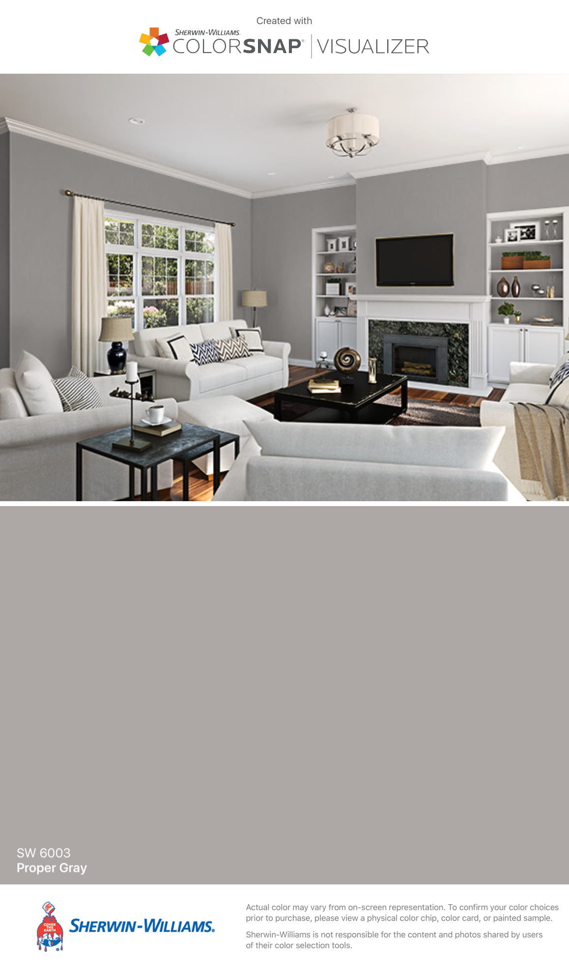 I Found This Color With Colorsnap Visualizer For Iphone By Sherwin Williams Proper Gray Sw 6003