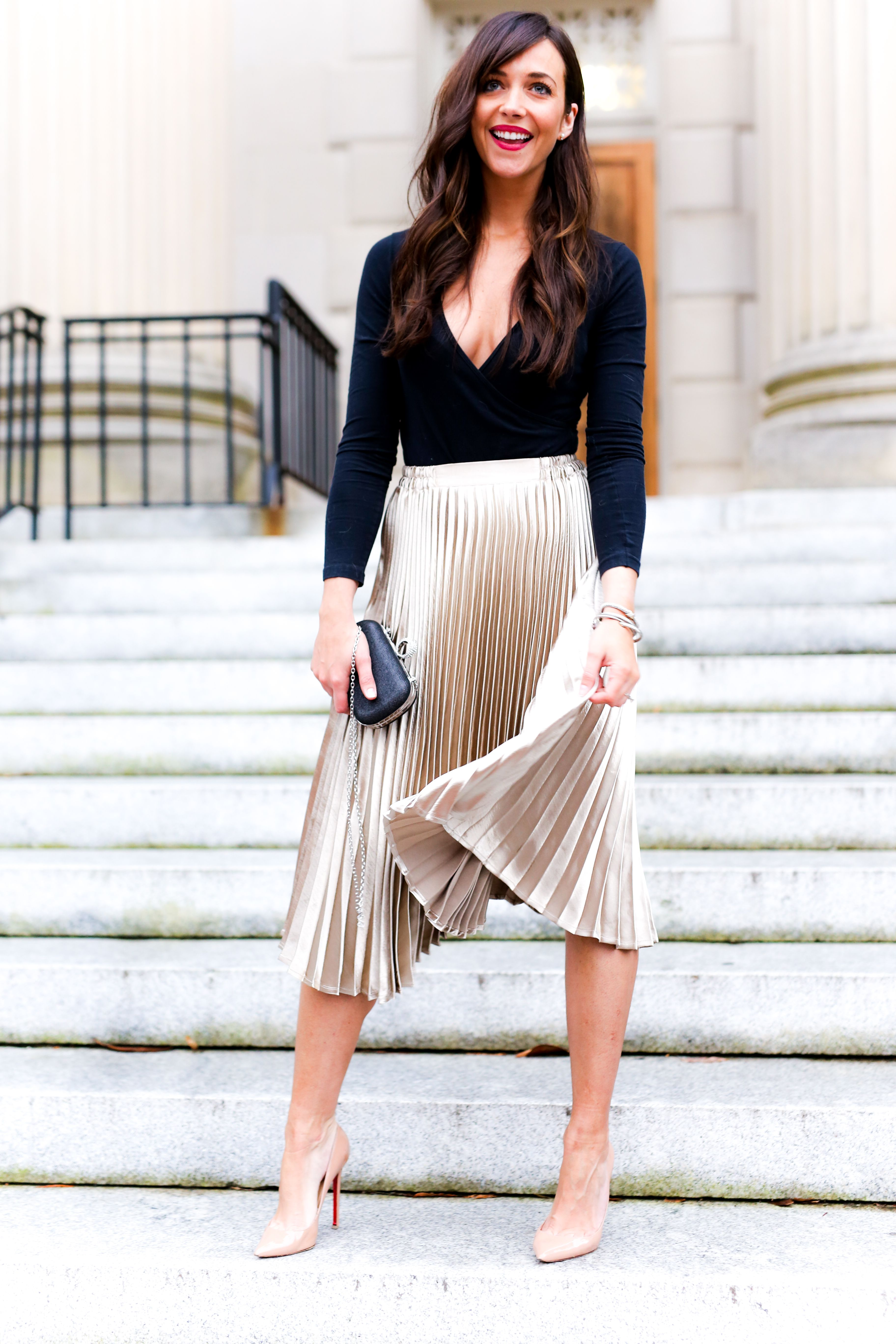 Nice Black Wrap Top Pleated Gold Skirt Nude Tights And Nude