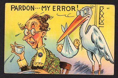 "comic postcard ""Pardon..my error!"" stork brings baby to older woman"