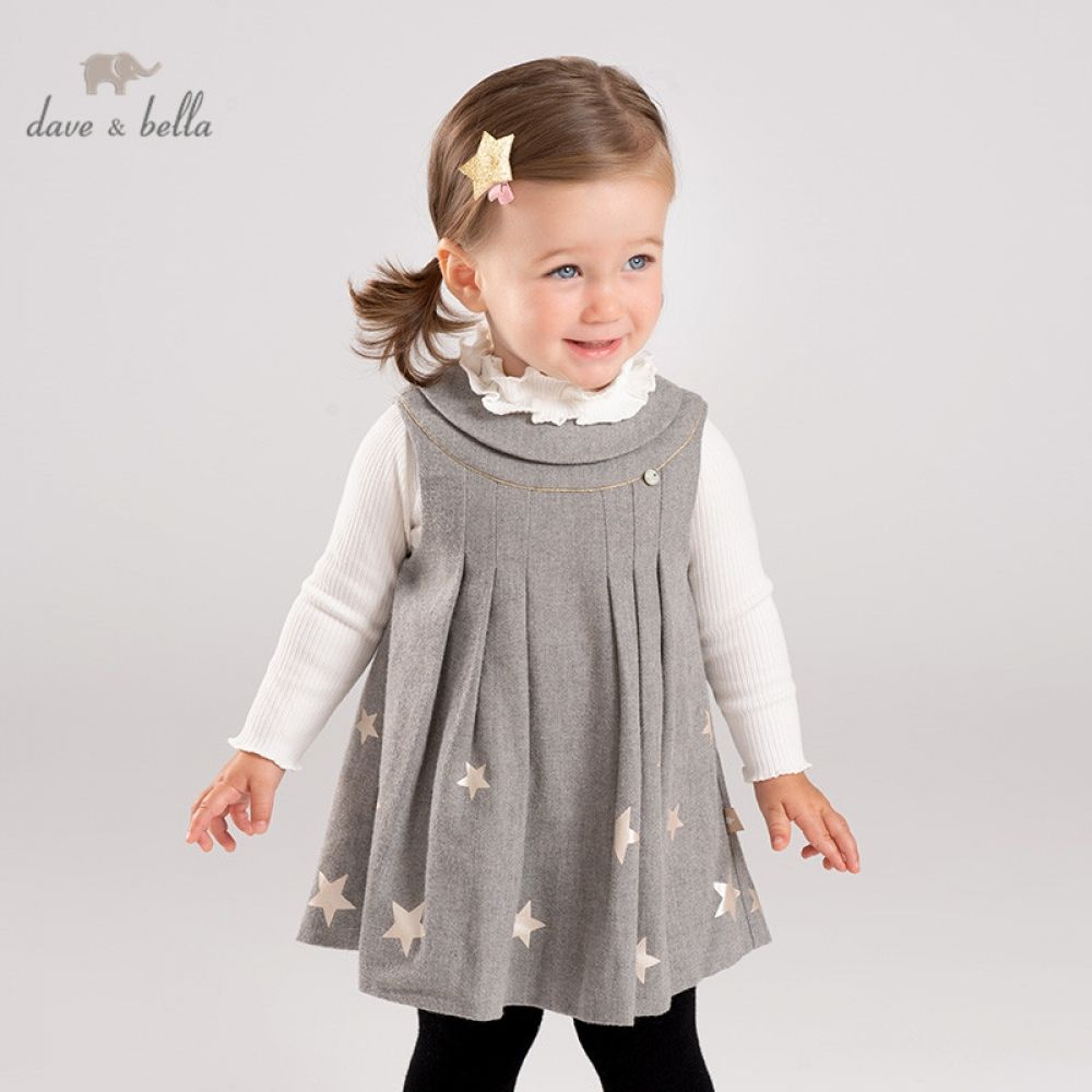 DB11750 dave bella autumn baby girl's princess stars vest dress children fashion party dress kids...
