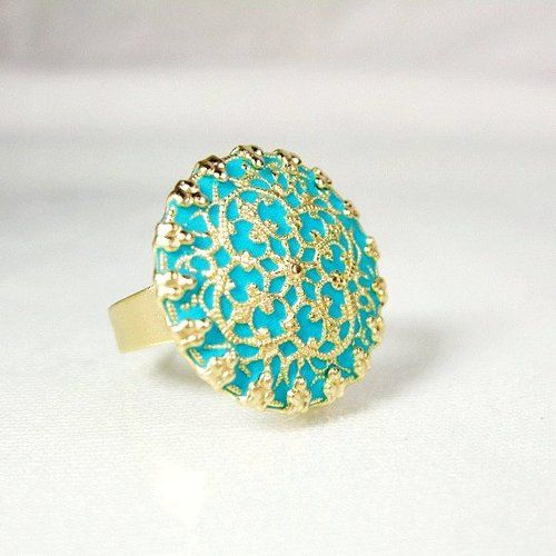 Turquoise gold ring filigree enamel jewelry 2012 handmade unique