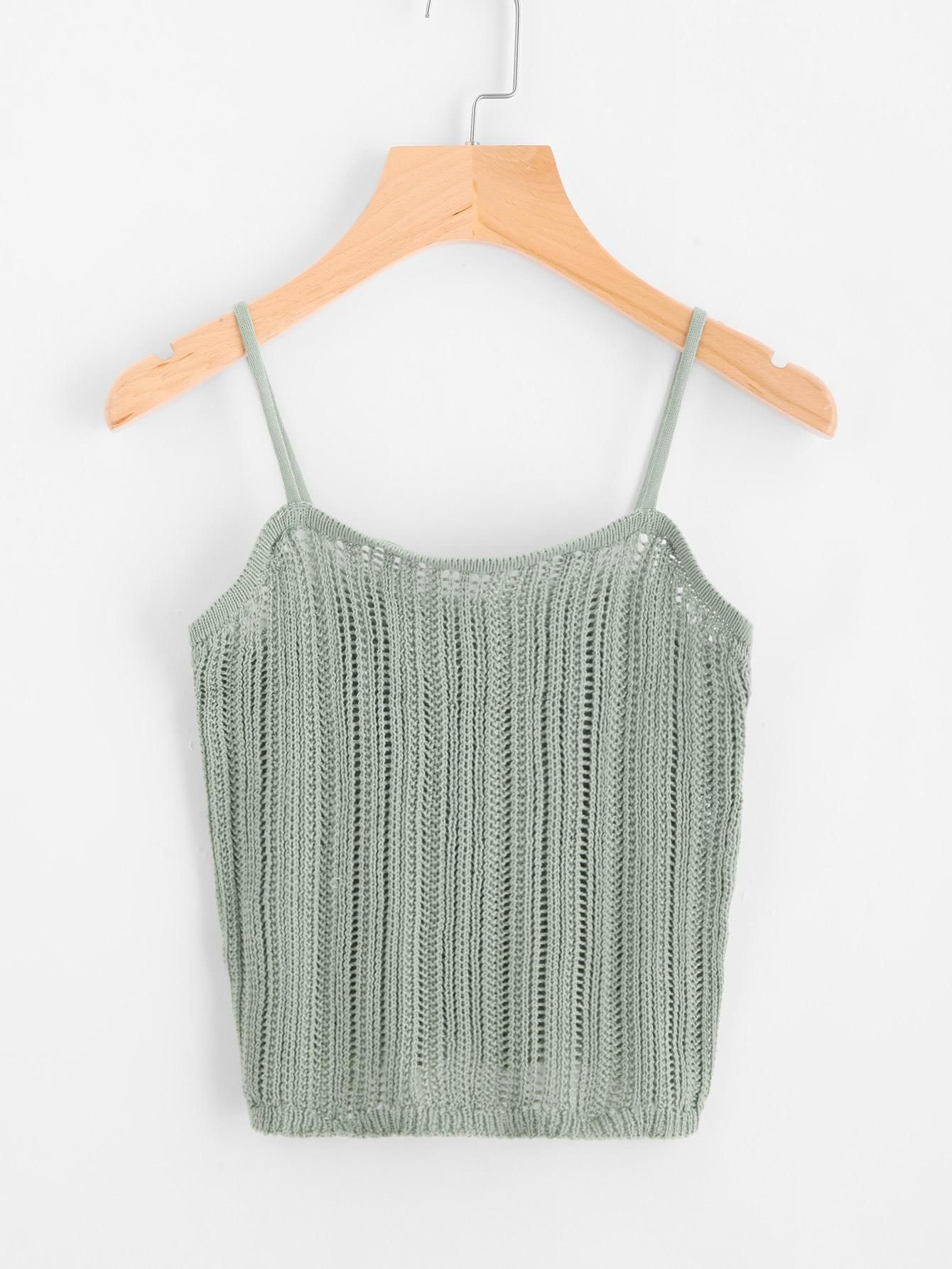 Hollow Out Knit Cami Top en 2018 | tricot | Pinterest