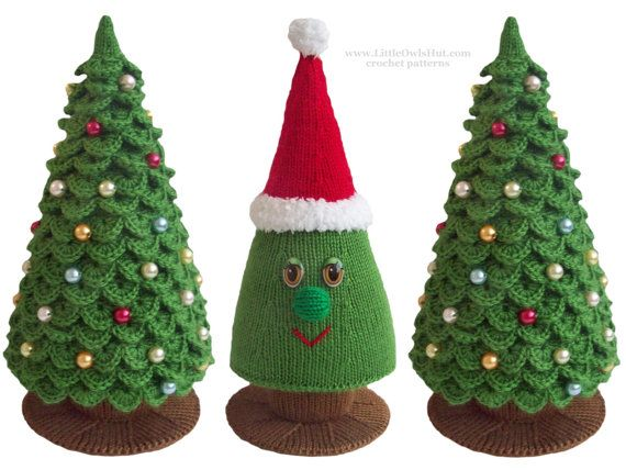 _______!!!_______!!!__________!!!_______  You have to know how to KNIT AND CROCHET to complete this christmas tree. Base for BOTH trees are knitted