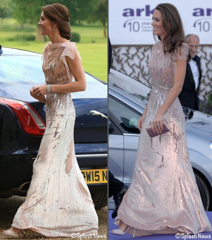 Catherine, Duchess of Cambridge wearing the Jenny Packman gown first in June 2011 to the ARK 10th Anniversary Gala Dinner and in June 2016 to a gala dinner in support of East Anglia's Children's Hospices.
