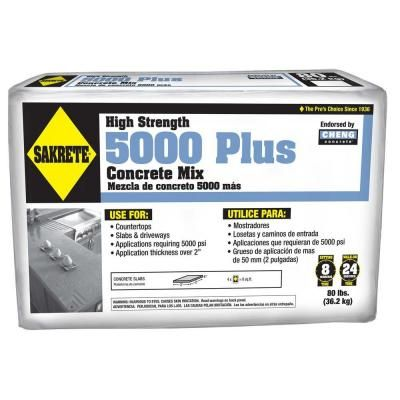 Sakrete 5000 Plus 80 Lb Concrete Mix 65200370 The Home Depot