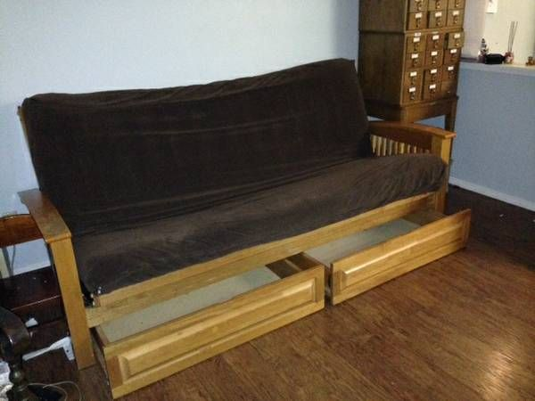 This Futon Set Package Is Displayed With Bottom Storage Drawers