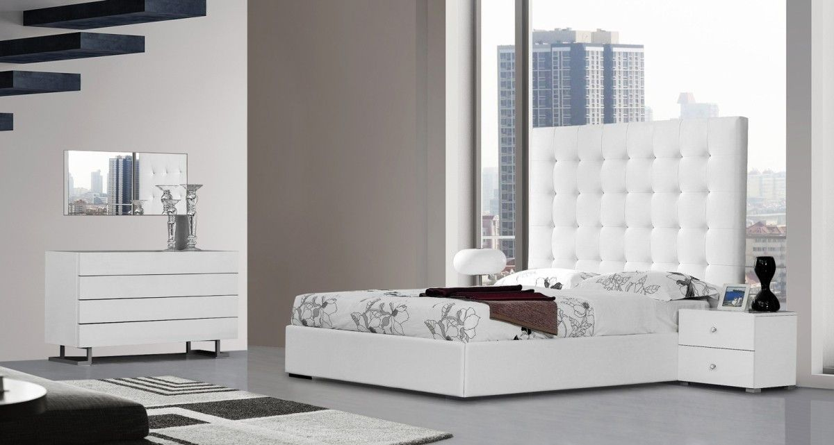 Modrest Lyrica White Leatherette Tall Headboard Queen Size Bed ...