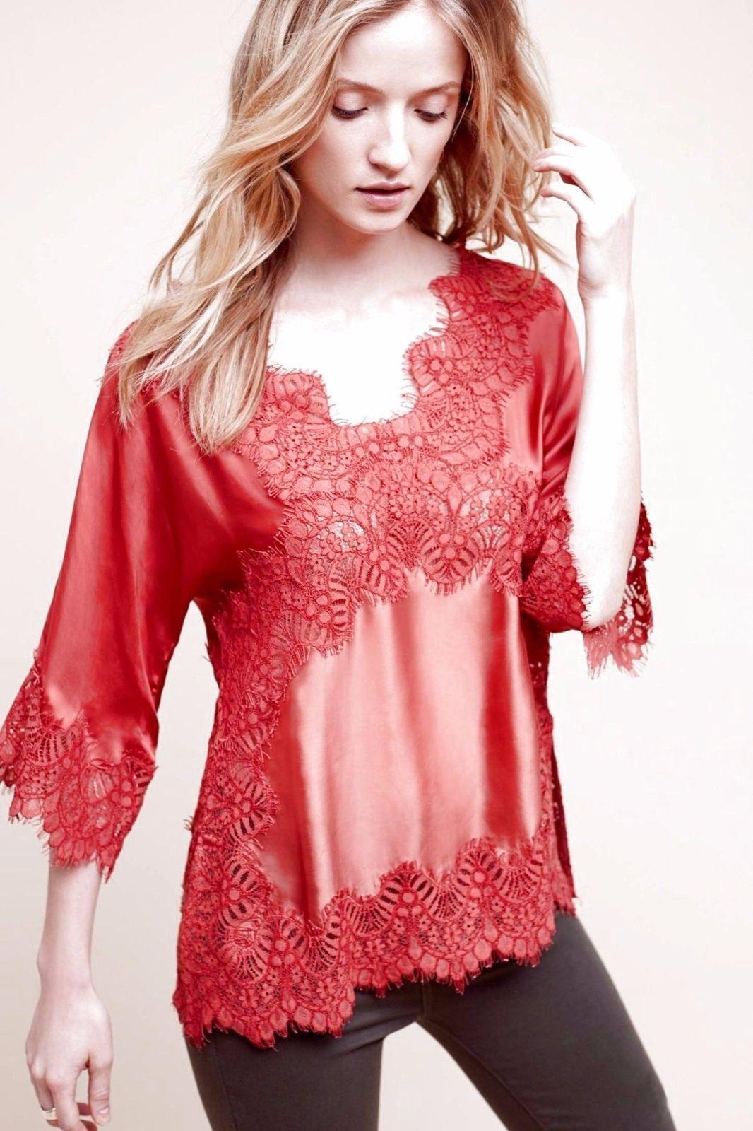 Anthropologie by moulinette soeurs bellsleeve lace blouse orange