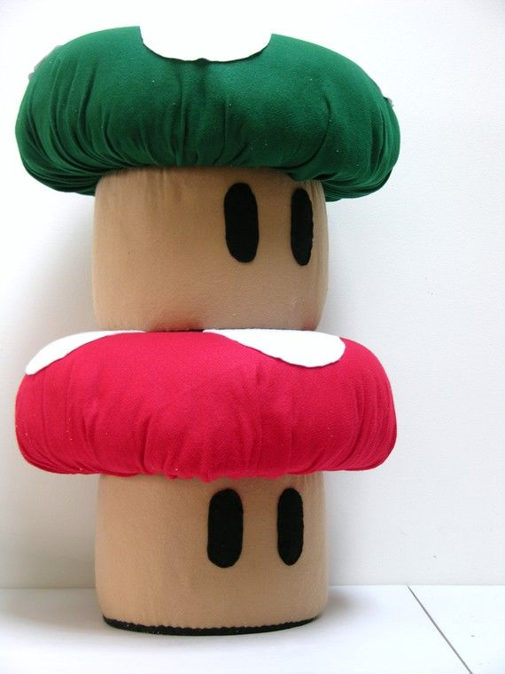 super mario brothers mushroom ottomans! These are on Etsy but I m wondering  if I can figure out how to do them myself. I ve seen them other places as  well. 2aec6e549941