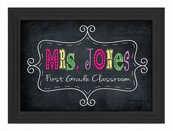 Custom Printable Pdf File Diy Teacher Name Sign Personalized