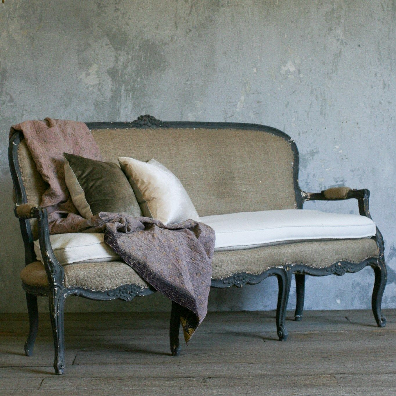Eloquence One of a Kind Vintage Settee Louis XV Deep Grey | Chairs ...