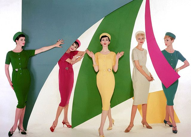 One 1960s frock, five great colour options. I'd go for the dark green, pink and dusky teal myself)