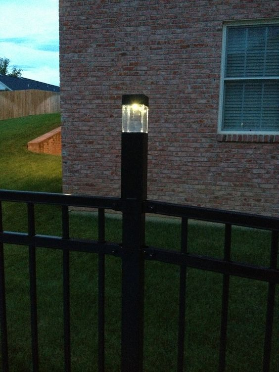 Diy Fence Post Lights 3 Solar Lights From Target Fit Perfectly Over The Post Caps On Our Fence Automatical Fence Post Caps Outdoor Post Lights Solar Lights