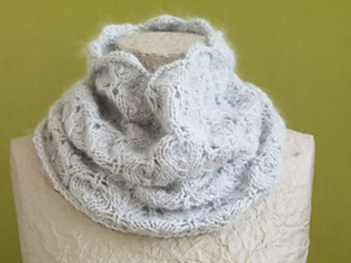Ravelry Pale Gray Lace Cowl Pattern By Lion Brand Yarn Scarves