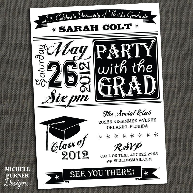 High School Or College Graduation Party By Michelepurnerdesigns - Party invitation template: graduation party invitation postcard templates free