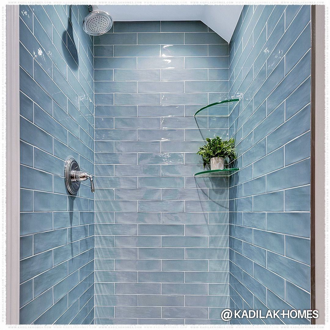 Kh Bathroom Renovation Inspo On Instagram The Textured Surface And Calming Blue Color Bring A Re Glass Tile Shower Blue Glass Tile Bathroom Shower Tile