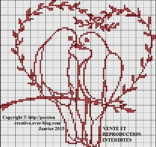 Grille gratuite point de croix oiseaux coeur broderie - Broderie traditionnelle grille gratuite ...