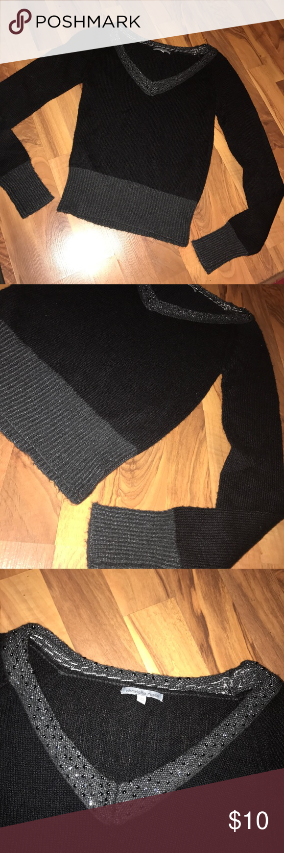 "Black & gray ribbed sweater with sequins Pretty black and gray ribbed v-neck sweater with sequins around the neck. Size S. Good used condition. 70% acrylic 30% nylon. 16"" from armpit to armpit, 14"" from armpit to hem. Charlotte Russe Sweaters V-Necks"
