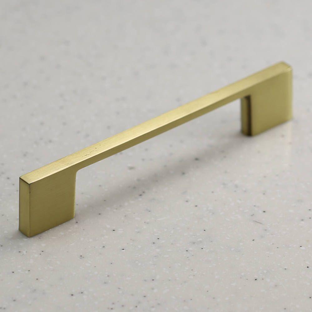 Satin Brass Cabinet Hardware Modern Pull Handle 96mm Center Etsy Brass Cabinet Hardware Cabinet Hardware Modern Cabinet Hardware