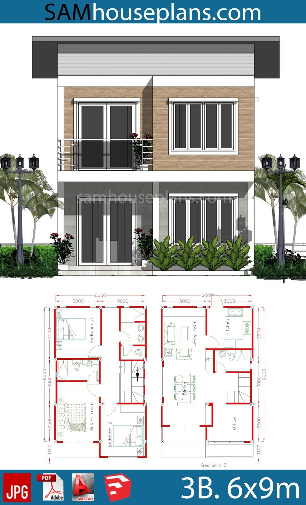House Plans 6x9m With 3 Bedrooms Sam House Plans Model House Plan House Construction Plan Architectural House Plans