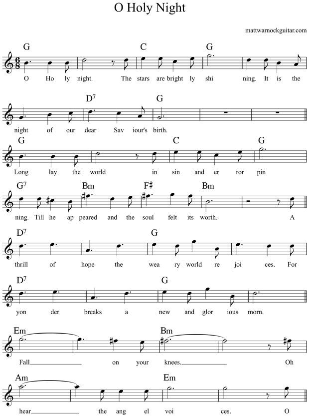 O Holy Night Guitar Chords 1 | saviboy | Pinterest | Guitar chords ...