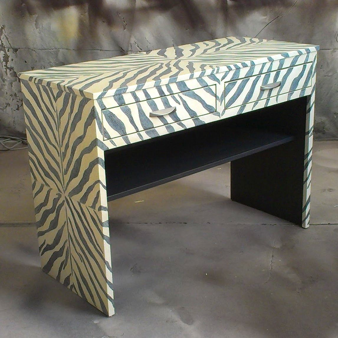 Perfect Zebra Pattern Console: Toned Down The Black Stripes With A Cream Colored  Glaze. Then Sanded It Back A Bit To Reveal A Little Of The Darker Color.