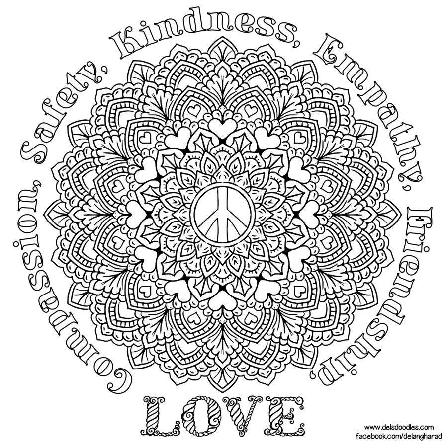 Peace Mandala By Welshpixie Deviantart Com On Deviantart Mandala Coloring Pages Geometric Coloring Pages Mandala