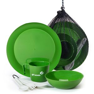 """CASCADIAN 7 PIECE TABLE SET PROFILES LOGO $25.00 #15094 This one-person table setting fits in its own mesh dish dunking bag for easy packing. Set includes: 6 1/2"""" bowl, 12 oz. cup, 9.8"""" plate and 3 piece, full size, plastic cutlery set. Bowl, cup, plate and cutlery of lightweight polypropylene and is BPA Free (no bisphenol-A)."""