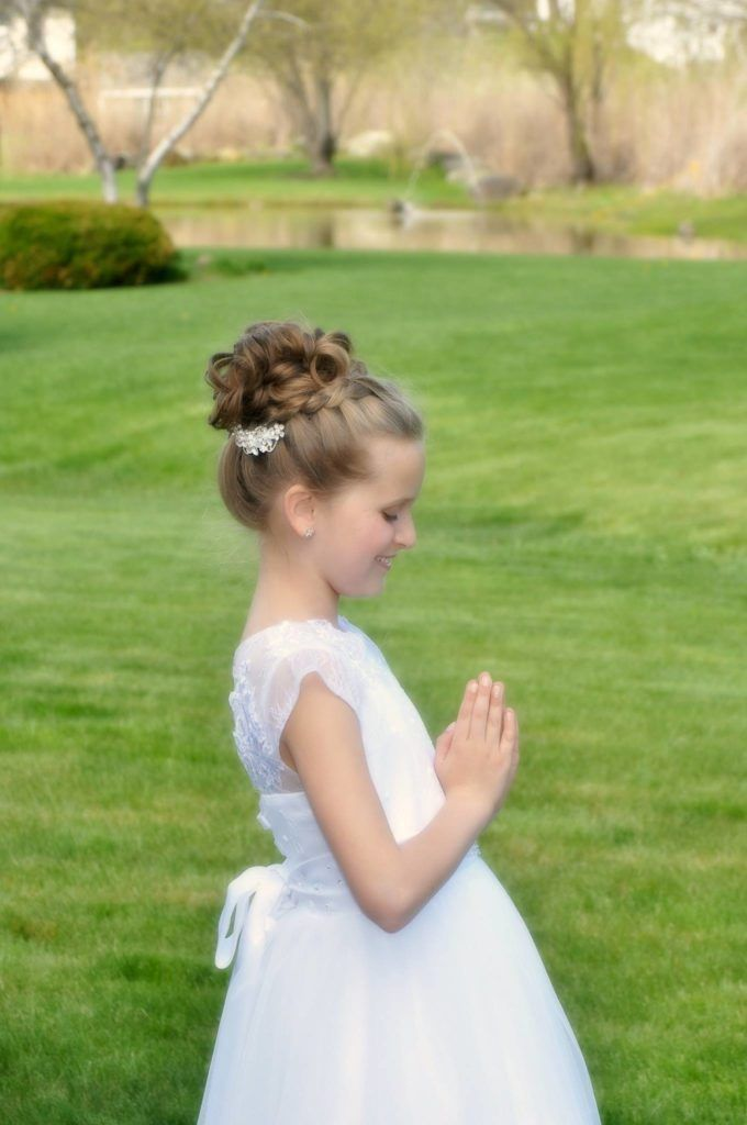 dc104bbec Little Girl First Holy Communion Hairstyle | Flower Girl Hairstyle | Cherry  Blossom Belle
