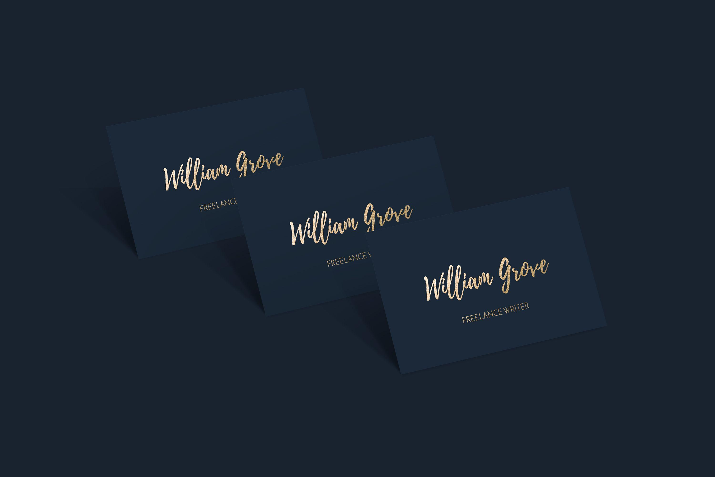 Business Card Template Card Design Navy Blue And Gold Foil Writers Business Premade Signature Font Script Font Handwritten Font Card Design Gold Business Card Business Card Design