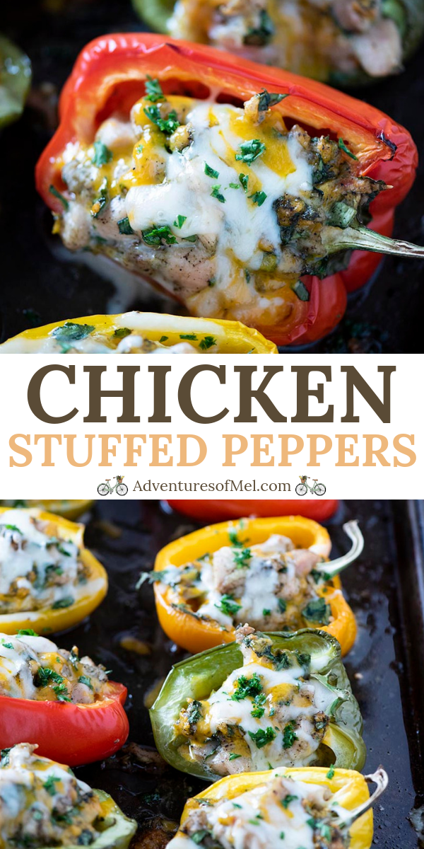 Healthy, low carb chicken stuffed bell peppers with spinach and cheese, baked in the oven. Easy delicious recipe (with video), perfect for a weeknight meal! #adventuresofmel #chickenrecipes #dinnertime #stuffedbellpeppers