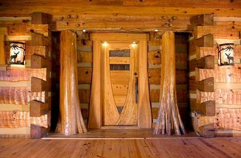 Front entrance | Cabin ideas | Pinterest | Trees, Log cabin homes ...