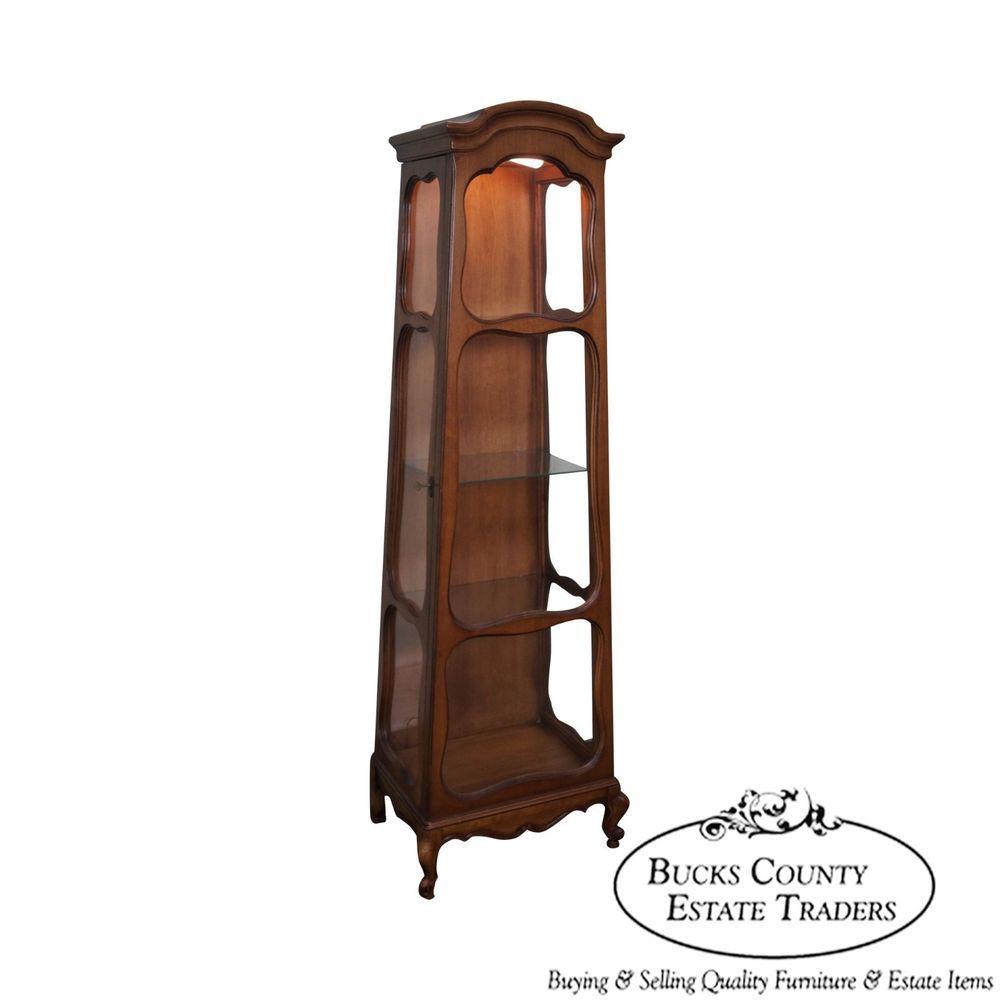 obelisk furniture. Vintage French Louis XV Style Obelisk Walnut Curio Cabinet Furniture S
