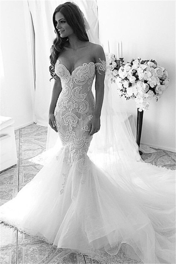f9a38d305bed Sexy Off-shoulder Mermaid Tulle Wedding Dress With Lace Appliques Ruffles