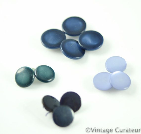 Vintage Blue Buttons Mixed Lot