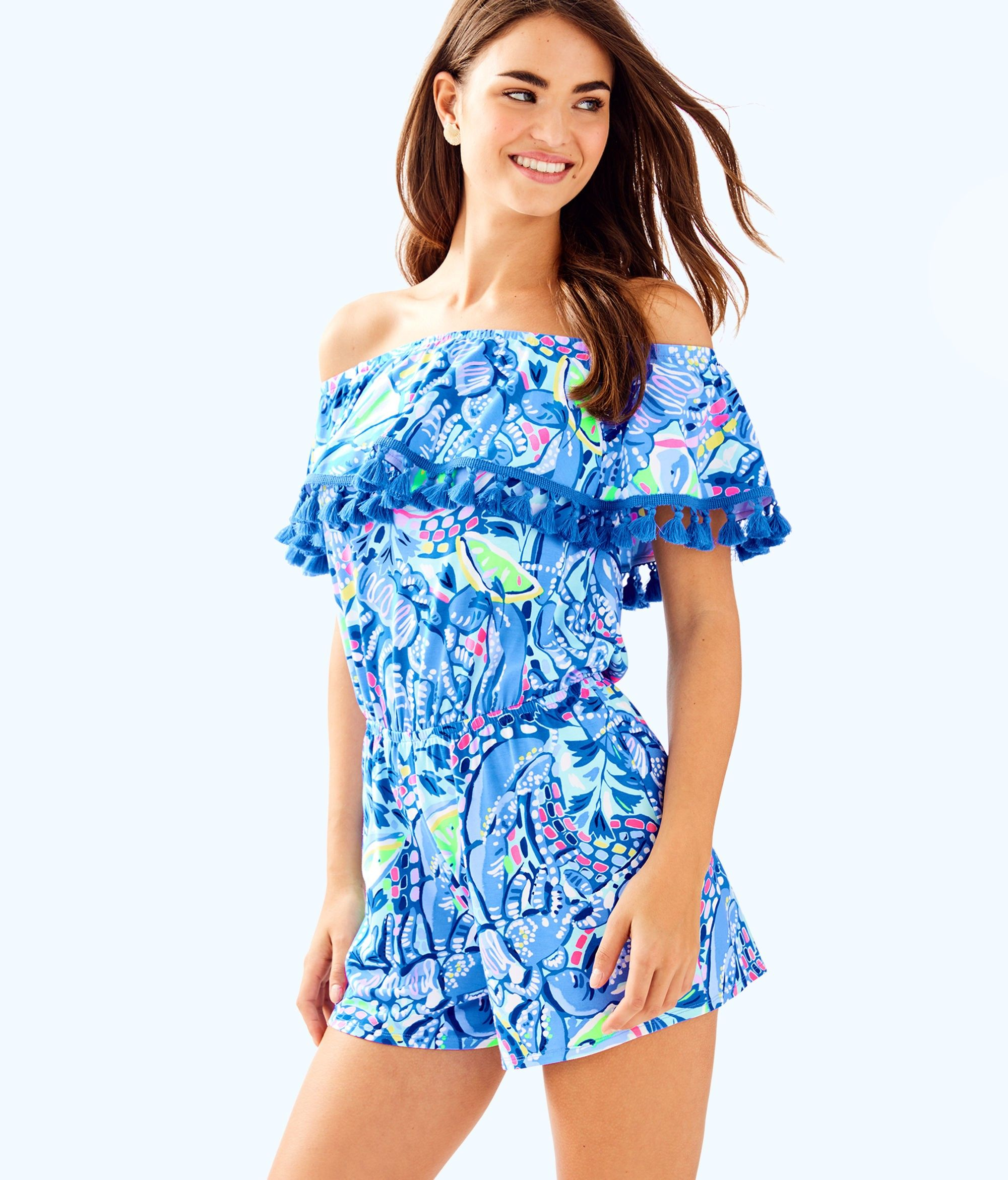 Lilly pulitzer la fortuna off the shoulder romper xxs gold products