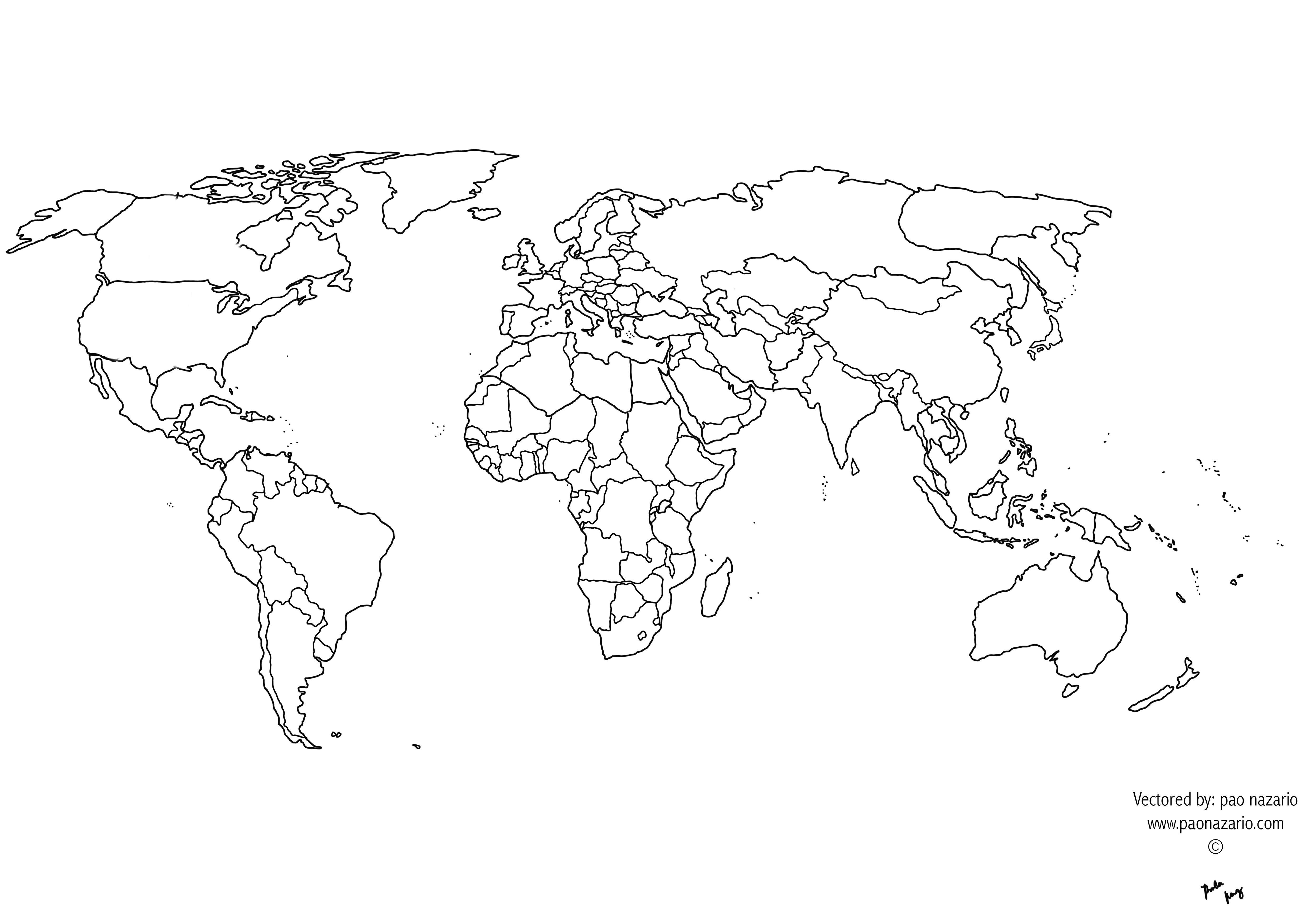 World Map With Borders Blank World Map Countries Ks1 Blank